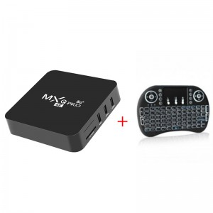 MXQ PRO 4K 5G S905W Smart Android TV Box + i8 Backlit Mini Wireless Keyboard With Touchpad Infrared Remote Control