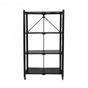 Fine Living Foldable Storage Rack-Black Metal 4 Layers