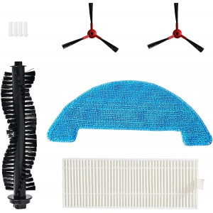 360 C50 Robot Vacuum and Mop Accessory kit, Replacement Parts of 2 Side Brush, 1 Main Brush, 1 Filter, 1 Washable Mop Cloth&4 Water Tank Filter