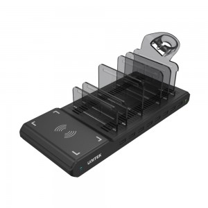Unitek 96W 8-Port Smart Charging Station with Qi 1.2.4 Wireless Charger