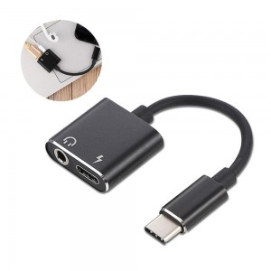 2-in-1 USB Type-C to 3.5mm Headphone Audio Jack Charging Cable Adapter + USB 3.0 Male Converter Adapter