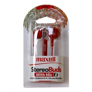 Maxell EB-MIC Earbuds with Microphone - Red