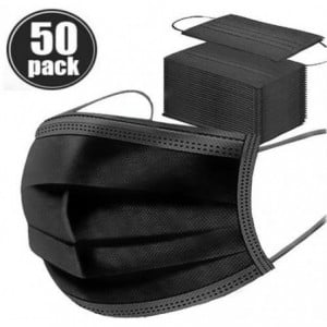 Casey Black 3 Ply Disposable Face Mask with Earloop 50 Per Pack- Black