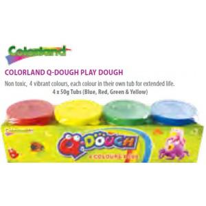 Colorland QDough Non Toxic 4 Vibrant Colours Mini Play Dough In Own Tubs