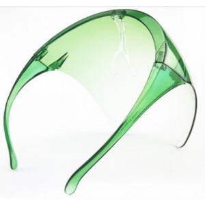 Casey Protective Transparent Anti Fog Isolation Face Shield with Spectacle Frame Mask - Green