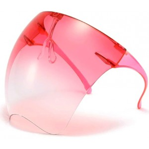 Casey Protective Transparent Anti Fog Isolation Face Shield with Spectacle Frame Mask - Red