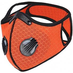 Casey Reusable Sport 3D Structured Unisex Dual Layer Face Masks With Dual Breath Valves - Orange