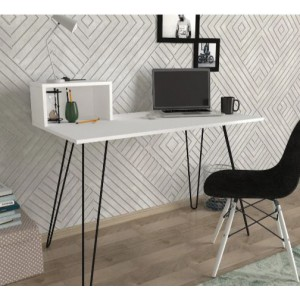 Effect Desk with a Built in Shelf - White