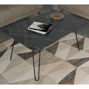 Homemark Deren Marble Finish Coffee Table with Iron Foot