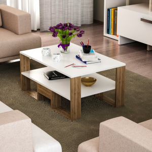 Homemark Golden Coffee Table - White and Walnut