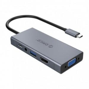 Orico 5 in 1 [1 x HDMI | 1xUSB3.0 | 1xVGA | 1x3.5mm | 1xType-C PD] Multifunctional Docking Station - Grey