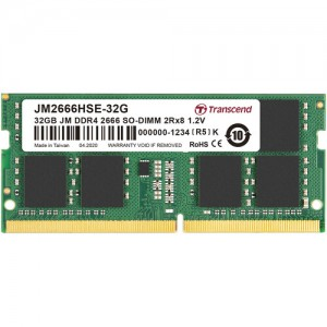 Transcend 32GB Jet Memory DDR4 2666MHZ Notebook So-Dimm 2RX8 2GX8 CL19