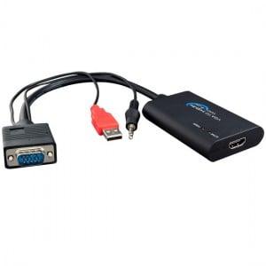 MALE VGA TO FEMALE HDMI WITH USB + AUDIO (30cm)