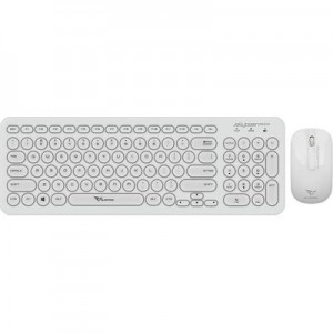 Alcatroz A2000 Jellybean Wireless Keyboard and Mouse Combo - White