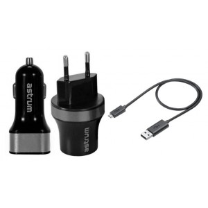 Astrum USB Home + Car Charger Combo 2.1A - Silver