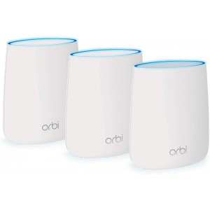 NETGEAR Orbi Tri-band Whole Home Mesh WiFi System 3Gbps - Router + Two Satellite Extenders