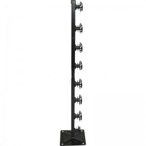 Nemtek Fence Pole 8 Line Square Tube + Base Shield Black
