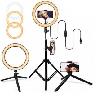 Geeko Multipurpose USB Powered Selfie LED Ring Light With Extendable Telescopic Tripod Stand