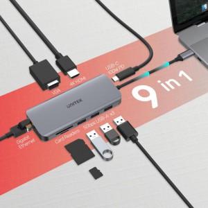 Unitek 9- Port Type-C Ethernet Hub with Dual Monitor, (D1026B)