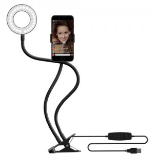 Tuff-Luv Perfect Selfie / Makeup Ring Light with Flexi Gooseneck Phone Holder Stand