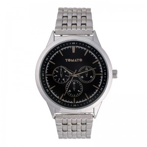 Tomato Gents Silver Black Dial 44mm Case and Metal Band Watch