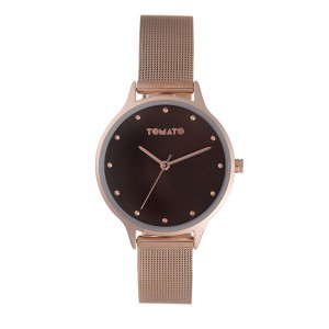 Tomato Rosegold Brown Dial Mesh 35mm Case