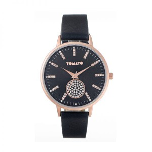 Tomato Ladies Black Dial Watch With Stones & 40mm Rosegold Case