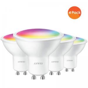GU10 WiFi Smart Bulb 5W 350lm works with Apple Homekit/Alexa and Tuya/Smart Life App 6500K - 4 Pack