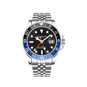 Stuhrling Original Men's Diver Silver Bracelet Black Face Blue Bezel Watch