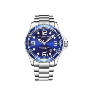 Stuhrling Original Men's Quartz Diver Blue Silver Bracelet Watch