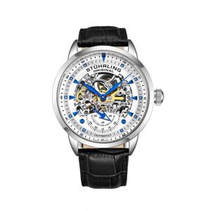 Stuhrling Original Men's White Face Skeleton Black Genuine Leather Strap Watch