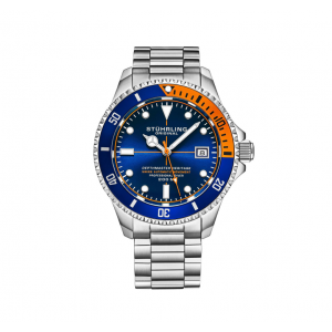 Men's Stainless Steel Automatic Watch Blue Face 20 ATM Blue and Orange