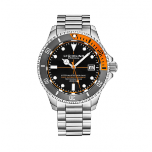 Men's Stainless Steel Automatic Watch Black Face 20 ATM Blue and Orange