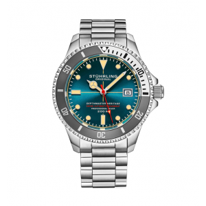 Men's Stainless Steel Automatic Watch Turquoise Face 20 ATM Gray Bezel