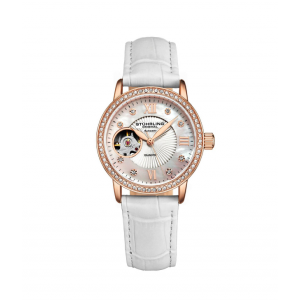Stuhrling Original Ladies Automatic Rose Gold Crystal Studded Genuine Leather Strap Watch