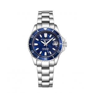 Stuhrling Original Women's Quartz Diver Blue Unidirectional Silver Link Bracelet Watch