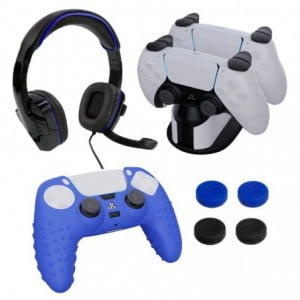 Sparkfox PlayStation 5 Combo Gamer Pack with Headset Grip Pack Controller Skin Charging Dock