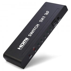 5-Port HDMI Switch with IR Remote Control (5-in, 1-out)