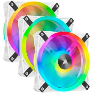 Corsair - iCUE QL120 RGB 120mm PWM White Fan - Triple Fan Kit with Lighting Node Core