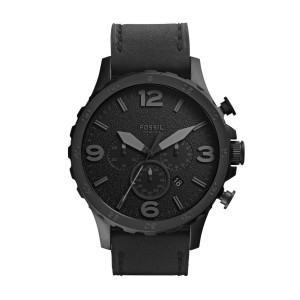 Fossil Men's Nate Black Round Leather Watch
