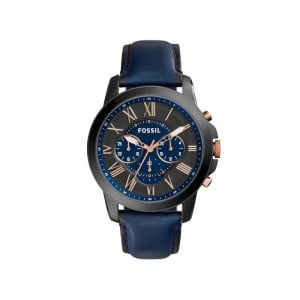 Fossil Men's Grant Chronograph Navy Leather Watch