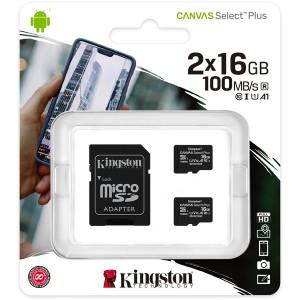 Kingston Technology - Canvas Select Plus microSD Card SDCS2/16 GB-2P1A Class 10 16GB Memory Card