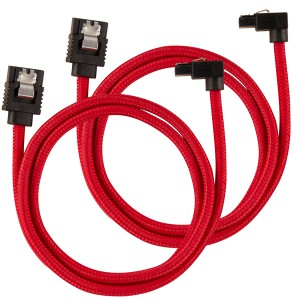 Corsair - Premium Sleeved SATA 6Gbps 60cm 90° Connector Cable - Red