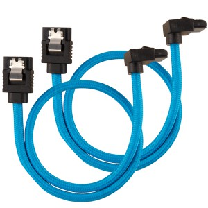 Corsair - Premium Sleeved SATA 6Gbps 30cm 90° Connector Cable - Blue