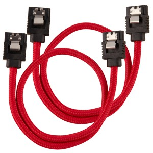 Corsair - Premium Sleeved SATA 6Gbps 30cm Cable - Red