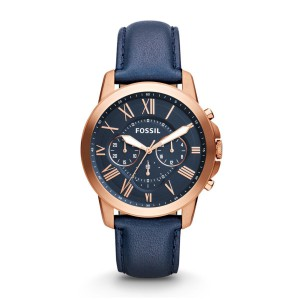 Fossil Men's Grant Rose Gold Round Leather Watch