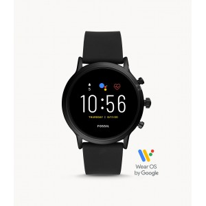 Fossil Gen 5 Smartwatch The Carlyle HR Black Silicone Smartwatch with Speaker, Heart Rate, GPS, Contactless Payments, and Smartphone Notifications