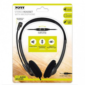 Port Stereo Headset with Mic with 1.2m Cable|1 x 3.5mm|Volume Controller - Black