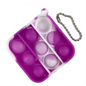 Pop It Mini Bubble Key Ring - Purple / White Square
