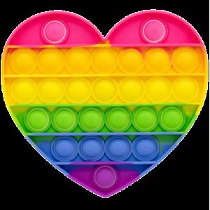 Pop It Bubble Heart Fidget - Small Rainbow